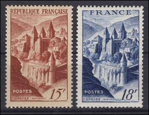 Frankreich 823-824 Bauwerke: Abtei Conques, 2 Werte, Satz **