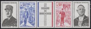 Frankreich 1772-1775 Erster Todestag Charles de Gaulle 1971, Fünferstreifen **