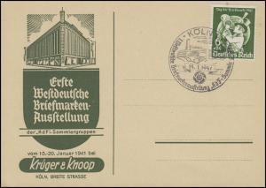762 Tag der Briefmarke Postillion Blanko-Sonder-PK SSt Köln KdF-Sammler 14.1.41