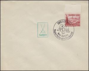 656 WHW 12 Pf Dampfer, EF Blanko-Brief SSt DRESDEN Tag der Solidarität 4.12.37