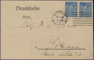 239 Freimarke Schnitter 10 M. blau, MeF Drucksche BRESLAU 19.4.23 nach Göttingen