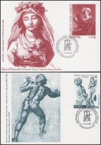 3 Sonderpostkarten Gemälde / Skulpturen 2003, 2004, 2005, passende Sonderstempel