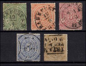 Norddt. Postbezirk 7-11 Freimarken, 5 Werte, Satz sauber zeitgerechte Stempel