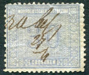 Norddeutscher Postbezirk 26 Freimarke 30 Groschen graublau, Federzugentwertung