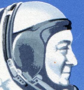 3005-3008 Weltraumflug 1986, Viererblock mit PLF Punkt auf der Wange, **