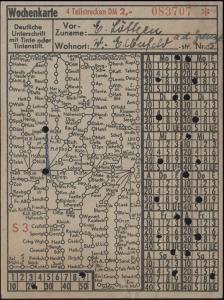 Wochen-Bahnkarte Wuppertaler Stadtwerke über 4 Teilstecken für 2,- DM Linie S3