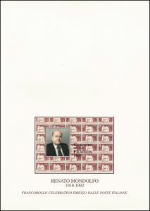 Italien 2415 Tag der Briefmarke - Renato Mondolfo, offizieller Folder ** / FDC