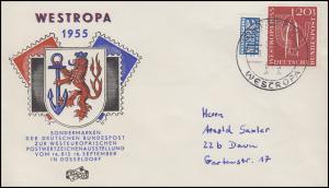 218 Ausstellung WESTROPA 20 Pf mit Notopfer Schmuck-Bf SSt DÜSSELDORF 16.9.55