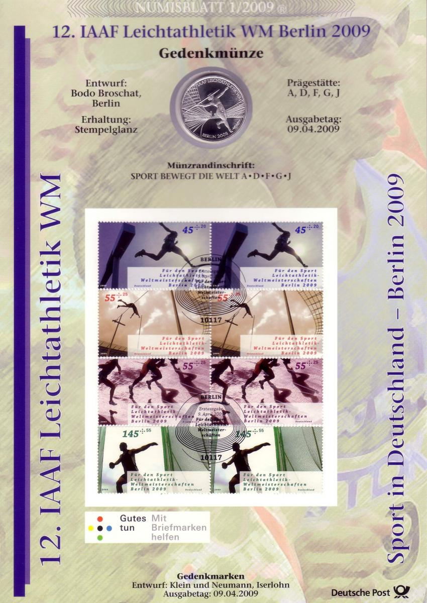 2727-30 IAAF Leichtathletik-WM in Berlin: Münzbuchstabe A - Numisblatt 1/2009 0