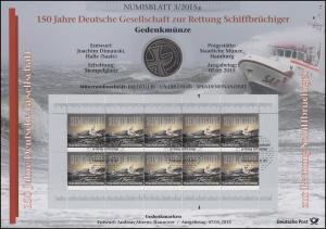 3153 Deutsche Gesellschaft zur Rettung Schiffbrüchiger - Numisblatt 3/2015