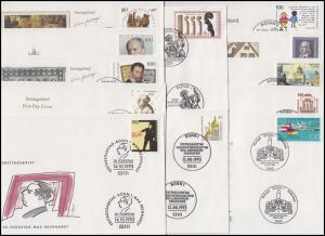 1645-1708 Bund-Jahrgang 1993 komplett auf Ersttagsbriefen / FDC mit ESSt