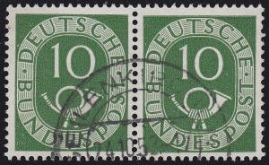 128 Posthorn 10 Pf. waagerechtes Paar, gestempelt