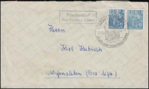 Landpost Friedersdorf über Frankfurt/Oder Brief MeF SSt Frankfurt 26.8.57