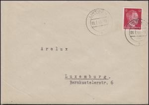 Luxemburg Hitler-EF 12 Pf. Brief ARELUX Kohlenhandlung LINTGEN 9.7.43