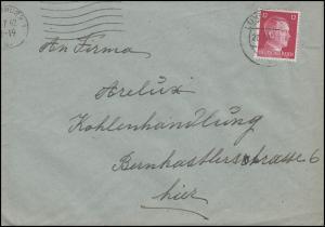 Luxemburg Hitler-EF 12 Pf. Orts-Brief Kohlenhandlung LUXEMBURG 27.7.42