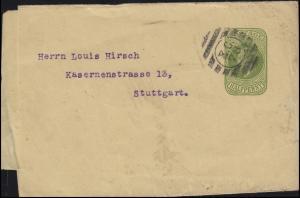 Großbritannien Streifband 1/2 P König Eduard VII. Stempel E.C. 76 nach Stuttgart
