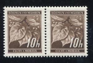 Böhmen und Mähren 23I Lindenzweig 10 H. mit PLF I: Kopf der 1 verdickt, Paar **
