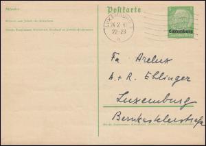 Luxemburg PK P 1 Hindenburg 5 Pf Kohlenhandlung Orts-PK LUXEMBURG-Maschinen-O