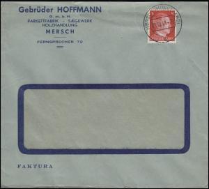 Luxemburg Hitler-EF 8 Pf. Parkett Sägewerk Holzhandel Fenster-Bf MERSCH 1.10.42
