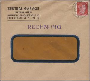Luxemburg Hitler-EF 8 Pf Zentral-Garage Rechnung Fensterbrief LUXEMBURG 30.9.42