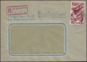 Württemberg 26 Freimarke 84 DPf. EF Fensterbrief R-Stempel SCHRAMBERG 3.8.48