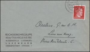 Luxemburg Hitler-EF 8 Pf. Kraftfahrgewerbe Orts-Brief LUXEMBURG 18.8.44