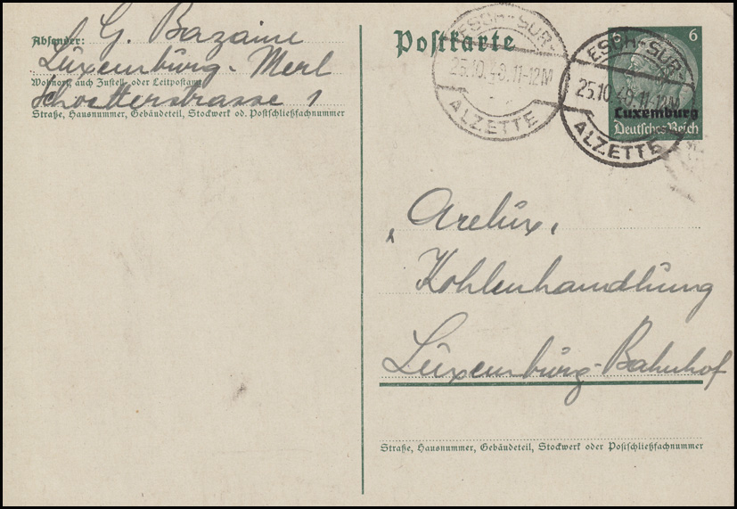 Luxemburg PK P 2 Hindenburg 6 Pf. Kohlenhandlung ARELUX, WALFERDANGE 23.10.40 0