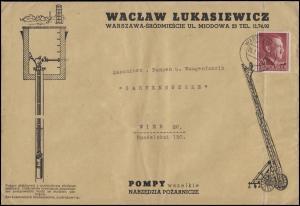 Generalgouvernement 78 EF Schmuck-Brief Pumpen- & Waagenfabrik WARSCHAU 7.5.42