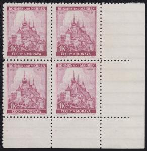 Böhmen und Mähren 28 Prag 1 K. Eckrand-Viererblock unten rechts **