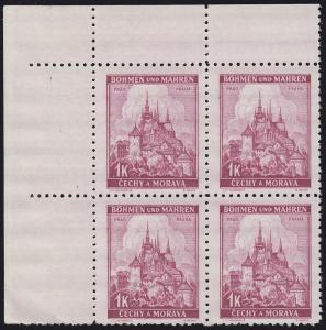 Böhmen und Mähren 28 Prag 1 K. Eckrand-Viererblock oben links **