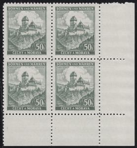 Böhmen und Mähren 26 Burg Karlstein 50 H. Eckrand-Viererblock unten rechts **