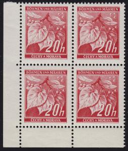 Böhmen und Mähren 22 Lindenzweig 20 H. Eckrand-Viererblock unten links **
