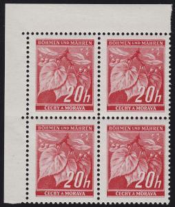 Böhmen und Mähren 22 Lindenzweig 20 H. Eckrand-Viererblock oben links **