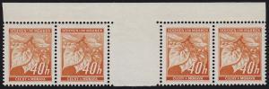 Böhmen und Mähren 38 Lindenzweig 40 H. orange Zwischenstegpaar mit Rand oben **