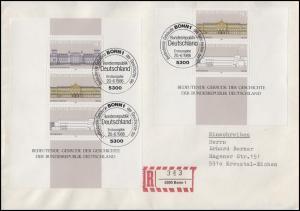 Block 20 Demokratie mit Blockteil 1288-1289 portog. auf R-FDC ESSt Bonn 20.6.86