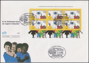 Block 21 Jugendausstellung Düsseldorf auf Schmuck-FDC ESSt DÜSSELDORF 21.6.1990