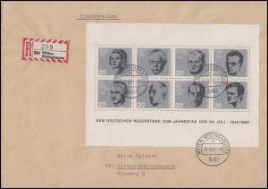 Block 3 Attentat 20. Juli 1944, EF auf Orts-R-Brief WITTEN-RÜDIGHAUSEN 13.8.64