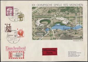 Sonder-R-Zettel OLYMPISCHE SPIELE IN MÜNCHEN 1972, Eil-R-Bf SSt Eröffnungsfeier