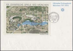 Block 7 Olympiastadion München 1972 auf Blanko-FDC ESSt MÜNCHEN Stadion 5.7.72