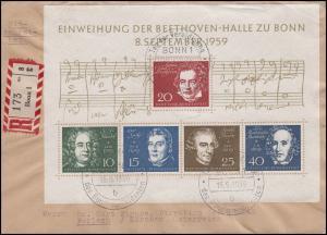 Block 2 Beethovenhalle EF R-Brief SSt BONN Bundespräsident 15.9.59 nach Ferlach