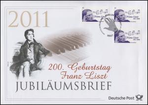 2846 Komponist und Pianist Franz Liszt 2011 - Jubiläumsbrief