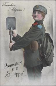 Ansichtskarte Humor Miltaria Fräulein Feldgrau! Feldpost Zensur GELDERN 18.11.15