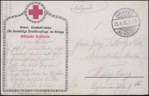 Ansichtskarte Rotes Kreuz: Dragoner zu Pferde, Feldpost BRAKEL / HÖXTER 28.4.16