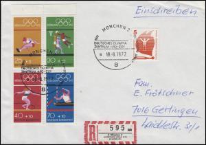 Sonder-R-Zettel OLYMPISCHE SPIELE, HBl.22 MiF R-Bf SSt MÜNCHEN ARD-ZDF 18.8.72