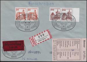995+998 BuS 20+210 Pf je im Paar, Eil-R-FDC ESSt BONN 14.2.1979 in die Schweiz