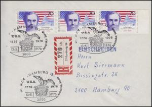 895 Unabhängigkeit der USA 3x 70 Pf. MeF Orts-R-FDC ESSt HAMBURG Adler 13.5.1976