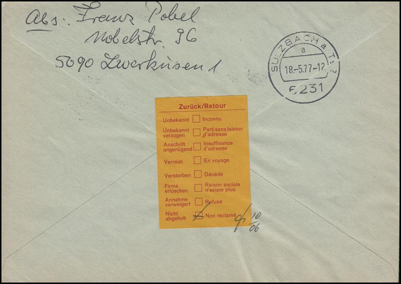 918 BuS 70 Pf Eckrand-Paar+ 916 BuS Ecke 50 Pf MiF R-FDC ET-O LEVERKUSEN 17.5.77 1