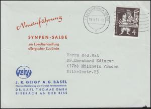 198 Gutenberg-Bibel EF Drucksache Synpen-Salbe BIBERACH 19.5.54 nach Müllheim