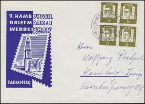 347x Albertus Magnus Viererblock MeF Orts-Schmuck-Brief SSt HAMBURG 29.10.61
