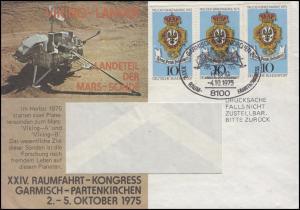 866 T.d.B. 1975: 3x je mit PLF Feld 1 Schmuck-Drucksache SSt Garmisch-P. 4.10.75